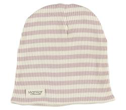 MarMar - Stribet beanie, Faded rose/Off-White
