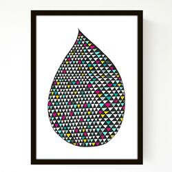 Seventy tree - Coloured drop - A4 Print uden ramme
