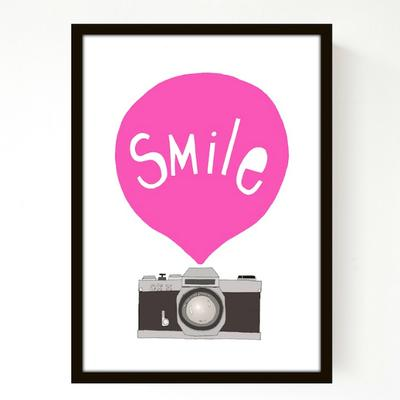 Seventy tree - Smile, pink - A3 print uden ramme