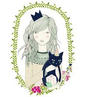 Chispum - Wallsticker - Cat girl (stor)
